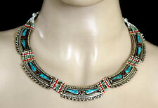 ETHNIC HANDMADE TIBETAN SILVER NECKLACE TURQUOISE JEWELRY NEPAL n3
