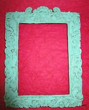 VINTAGE ANTIQUE Shabby Chic picture frame ornate cherub green blue distressed