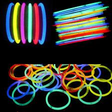 """50PCS 8"""" Flexional Glow Stick Neon Light Up Bracelet Necklaces Mix Colors Party"""