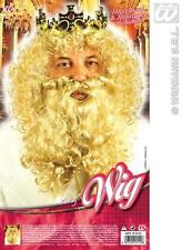Mens Deluxe Blonde Curly Wig  & Beard Set King Royalty Troll Fancy Dress