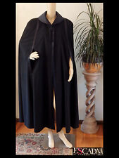 80s Vtg ESCADA Black WOOL/CASHMERE CAPE Satin Collar Tassel Opera Cloak Coat~38