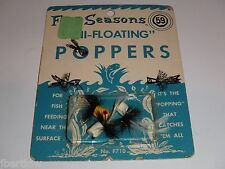 Vintage Four Seasons Fly Rod Poppers Floating Fishing Lures Old Stock!