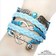 NEW Pearl Infinity Skull Note  Wing  Leather  Charm Bracelet plated Silver  T0X2