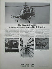 1/1970 PUB VOUGHT HELICOPTER ALOUETTE 3 2 HELICOPTERE ORIGINAL AD