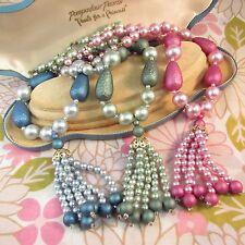 Lot of 3 Vintage 1970s Pearlised Plastic Beaded Tassle Necklaces