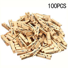 100× Mini Natural Small Wooden Pegs Clip Clamp For Photo Clothing Wedding Party