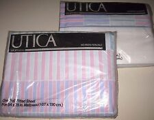 "NIP Vintage Purple Pink FULL Size Low 9""-10"" FITTED &FLAT Bed Sheets Made in USA"