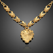 Vogue Woman Ladies Heart Pendant Necklace Chain Jewelry Copper Gold Filled