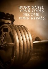 BODYBUILDING INSPIRATIONAL MOTIVATIONAL QUOTE POSTER  PRINT IDOL BECOME RIVAL