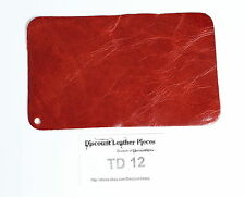 "Paprika Red Scrap Leather Craft Piece 8"" x 5"" TD12"