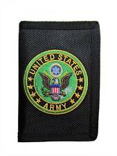 United States Army Eagle Logo Trifold Wallet Black USA