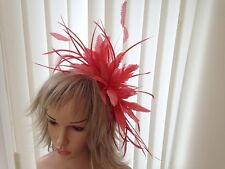 CORAL   FEATHER  FASCINATOR-HAT WEDDING,ASCOT,ACCESSORIES, CUSTOM MADE