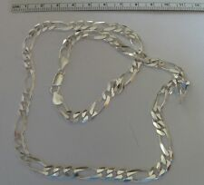 """20"""" Sterling Silver 7mm wide Heavy 33gram or 1 ounce Figaro Necklace Chain"""