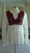 VINTAGE HAVANA Ivory Lace Embroidered Boho Hippy Top Long Sleeve Blouse SZ L