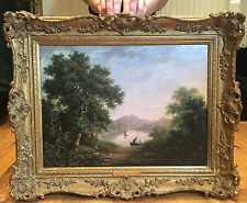 Fine Original Antique 19th Century British OLD MASTER OIL PAINTING river Scene