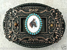 Equestrian Cameo Horse Ant Copper ornate Western oval belt buckle NEW 4 x 2.75""