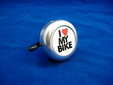 I LOVE MY BIKE SILVER AND WHITE BICYCLE BELL RINGER BIKE