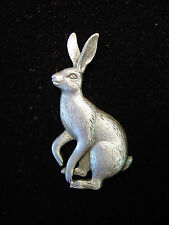 """JJ"" Jonette Jewelry Silver Pewter 'Hare Looking to JUMP' Pin"