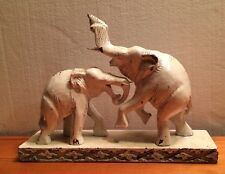 "Vintage FIGHTING ELEPHANTS Carved Wood Statue Sculpture Painted White 10"" X 8"""