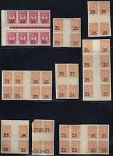 RUSSIA SOUTH RUSSIA 1918 COLLECTION OF 52 IN GUTTER BLOCKS OF 4 BLOCKS OF 8 ALL