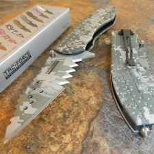 TAC-FORCE DIGITAL CAMO JAGGED Spring Assisted Open TACTICAL RESCUE Pocket Knife!