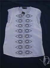 BCBG MAXAZRIA WHITE BROWN SILK HABOTAI EMBROIDERED TUNIC TOP SHIRT XS NWT $198