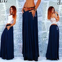 Fashion Blue Sexy Women Summer Maxi Pleated Skirt Casual Long Dress Skirt
