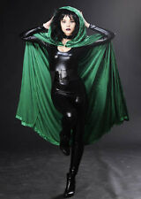 Halloween Gothic Long Green Velvet Hooded Cape
