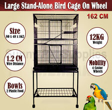Large 162 CM Stand-Alone Parrot Aviary Budgie Canary Bird Rat Cage on Wheels BNE