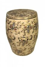 Oriental Furniture Porcelain Garden Stool with Glazed Flowers 18 inches tall