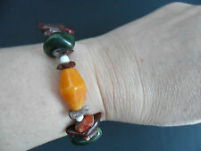 Yellow Dark Red Green White Bead Elasticated Beaded Bracelet BNWOT