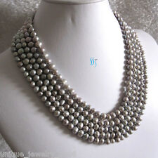 """100"""" 5-7mm Silver Gray Freshwater Pearl Necklace"""