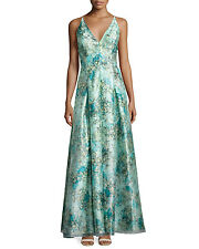 Aidan Mattox Ball Gown Allover Floral Organza Floral Turquoise Dress Size 6