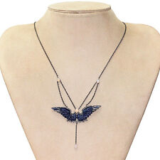 Lapis Gemstone Carved ANGEL WINGS Pendant Necklace .925 Silver Pave Diamond Opal