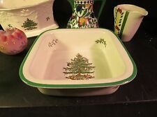 "Spode Christmas Tree Large 10"" Square Casserole Made in England"