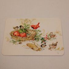 Vintage Greeting Post Card Hallmark Birds Fruit Christmas
