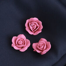 100pcs New Dark Pink Color Flowers Shape Charms FIMO Polymer Clay Spacer Beads J