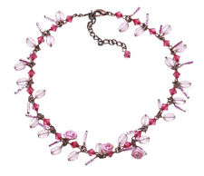 Kiss my neck' CUTE LADIES PINK STONES & ROSES BEAUTIFUL CHOKER   (ZX54)