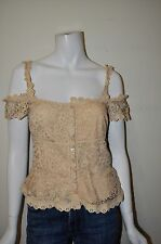 Moschino cheap and Chic size 44 beige lace sleeveless top NEW drop open shoulder