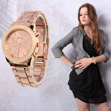 FASHION GENEVA LADIES WOMEN GIRL UNISEX STAINLESS STEEL QUARTZ WRIST WATCH UK