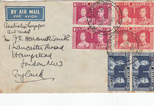 1937 new zealand air mail au royaume-uni par l'australie à singapour air mail