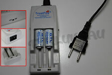 2 PILES ACCUS RECHARGEABLE CR123A 16340 3.7V 2800mAh + CHARGEUR TR-001 TRUSTFIRE