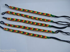 5pcs Rasta Friendship Bracelet WRISTBAND Cotton Silk Reggae Jamaica Surfer Boho