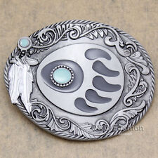 Western Silver Bear Paw Claw Grizzly Tracker Feather Navajo Rodeo Belt Buckle