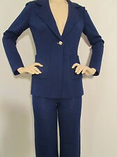 NEW ST JOHN KNIT SIZE 2 & 0 WOMENS  PANT SUIT  SANTANA KNIT NAVY BLUE MARINE