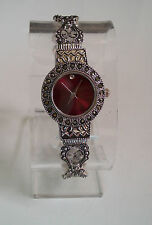 Silver/Black Vintage  Look with Color Dial Marcasite Women's Bangle Cuff Watch