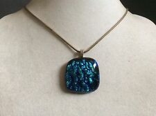 Blue Dichroic Art Glass Pendant Sterling Silver 925 Round chain necklace
