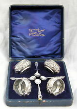 4 Boxed Victorian Solid Silver Salts & Spoons 1901