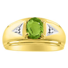 Mens Peridot & Diamond Ring 14K Yellow Gold August Birthstone