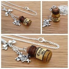 Alice in Wonderland mini drink me bottle Bow & white rabbit necklace